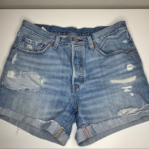 Levi's Button Fly Distressed Ripped Jean Shorts
